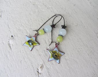 Earrings charms star enameled copper, gemstones, jade, kunzite, hematite, white, green/yellow and gray
