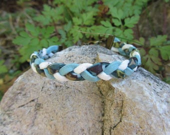 Suede and liberty, blue, white, green cord braided bracelet