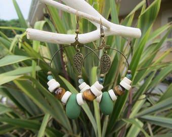 hoop earrings, Bohemian, gypsy, boho, nature, Khaki, ecru and Brown, gemstones, polymer clay, bronze metal