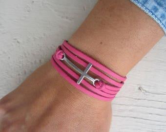MULTISTRAND leather Cuff Bracelet pink fuschia and Silver Cross, pop, rock bracelet