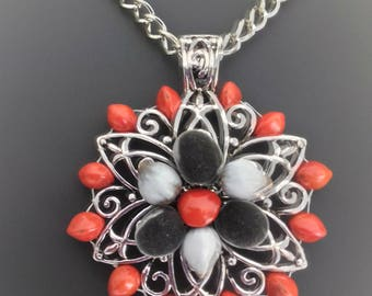 Sterling Silver decorated with multicolor seeds: réglise red zanzibar and balisier / tropical seeds / lucky charm