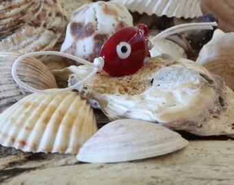 little red murano glass fish