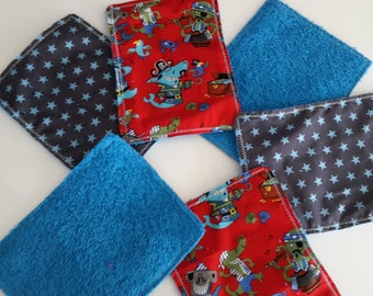 "Wipes washable x 6 for children ""pirates"" blue and red/towel/bathroom wipes"