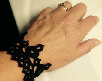 Black cotton tatted lace Cuff Bracelet