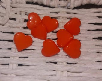 set of 8 heart Orange buttons plastic