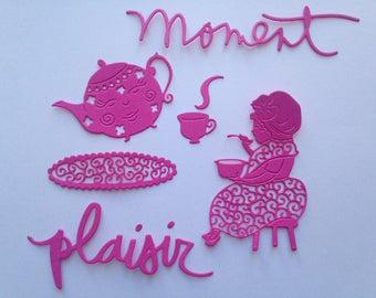 lot cuts time fun teapot Teacup woman silhouette kitchen scrapbooking embellishment die cut scrap album