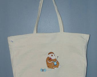 embroidered cotton knitter bag