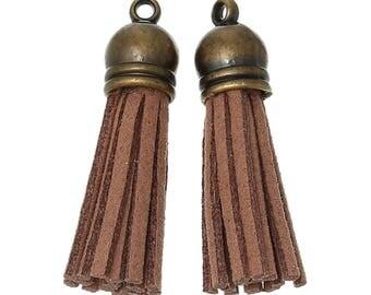 Brown suede tassels 3.9 1 11 cm with brass cap