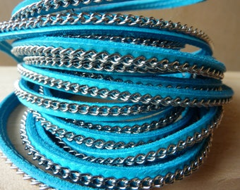 20 cm chain 5 mm wide turquoise leather