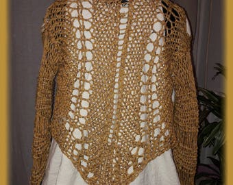 Handmade amber VEST front linen fine crinkle mesh knit sleeves and back