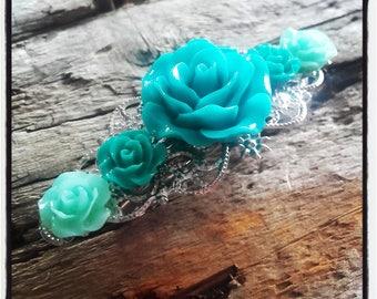 Shades of green flowers hair clip, wedding, vintage wedding hair accessory
