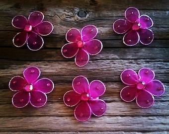 set of 6 flowers fuchsia nylon scrapbooking embellishment