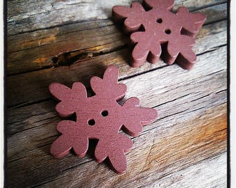Buttons sewing scrapbooking Brown wooden snowflake