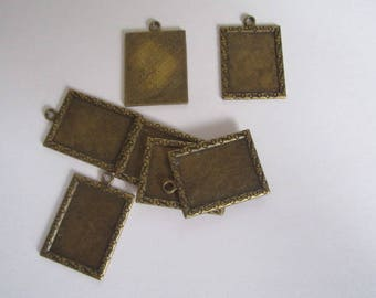 Support cabochon rectangular color bronze