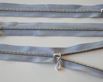 Light grey rhinestones - 20cms - shiny effect ZIP zipper