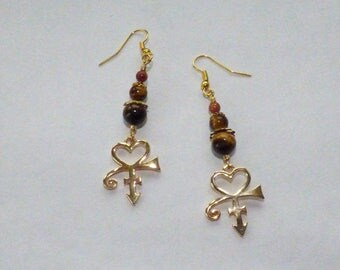 Egyptian stone Tiger eye and Sunstone earrings