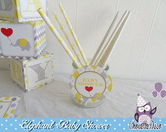 Tag decoration - large-diameter - elephant baby shower - yellow gray - sweet table