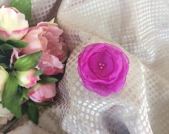 Flower 6 cm chiffon purple with pearls