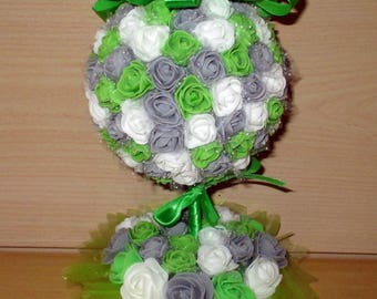 Table centerpiece, gray, green and white