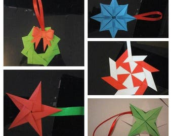 Set of 5 origami Christmas ornaments