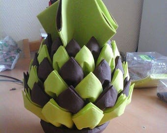 Folding towels dispenser Brown green pineapples