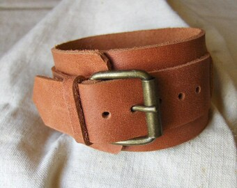 Handmade orange leather bracelet