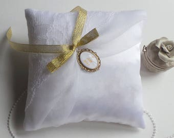White ring bearer wedding chic and understated organza lace pillow