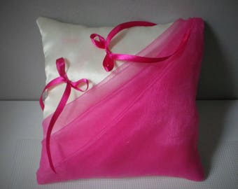 Fuchsia organza veil draped ivory luxury satin ring bearer pillow