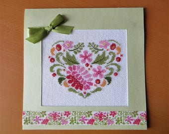 Hand embroidered card: heart with pink flowers