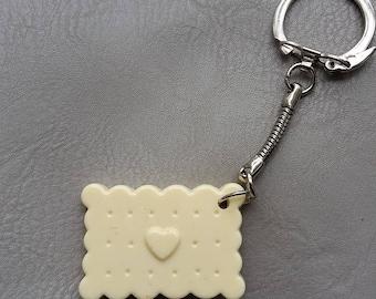 White resin chocolate cookie keychain