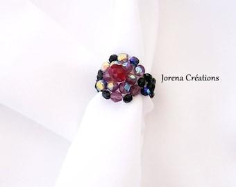 Ring pearls Swarovski red and black