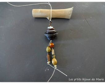 Necklace made of buttons and wood beads and glass in shades of Brown