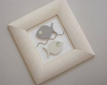 child's room decoration, two fish minimalist wooden frame