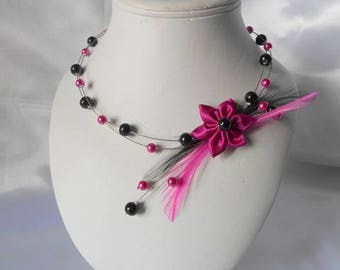 Fuchsia & Black wedding LAYLA necklace