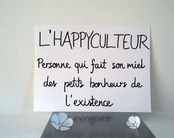 "inspirational ""happyculteur""poster illustrated by hand"
