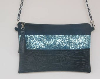 Black Alligator bag blue glitter