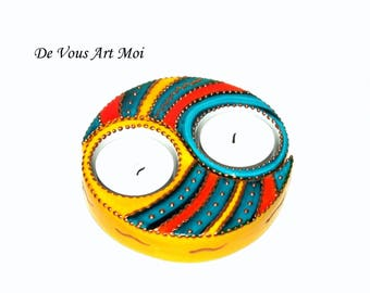 Candle holder, door candle ying-yang separable (two in one) colorful porcelain hand painted