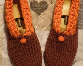 Slippers adult woman 36/37 wool Brown and orange