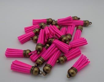 35mm pink fluo/bronze suede tassel
