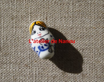 nesting doll hand-made ceramic bead