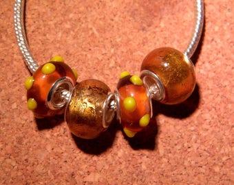 4 bead charms murano glass European handmade amber and gold - 14 x 10 mm - pandora compatible - PF48-A