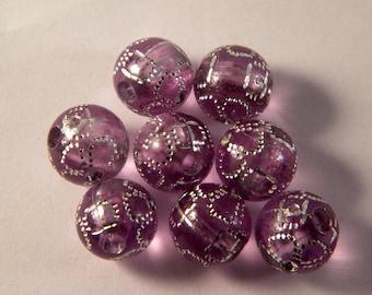 20 transparent purple rhinestone shamballa 10 mm beads