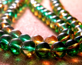 30 glass beads 6 mm - translucent 2 tones - green and orange - PG303-2