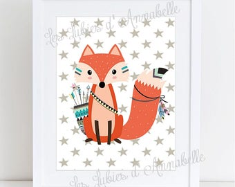 A4 poster for Indian or Tribal Fox nursery