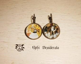 "Earring cabochon Gustav Klimt ""Beethoven"" 1902 romantic style, art nouveau pattern"