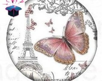 1 cabochon clear 25 mm round Paris theme
