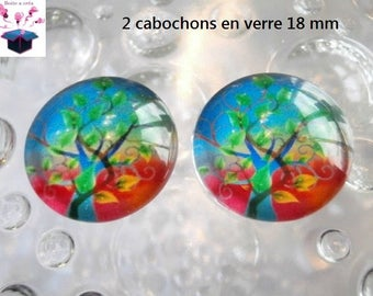 2 18mm tree of life domed glass cabochon