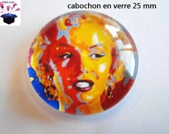 1 cabochon clear 25 mm round Marylin monroe theme
