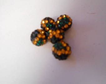 5 beads resin with Rhinestones 10 mm 3 colors