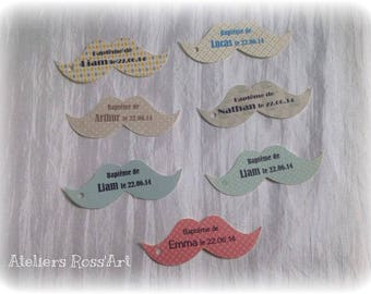 Personalized dragees mustache cookie tag